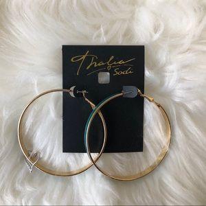 Thalia Sofia Green Turquoise Hoops Earrings